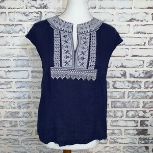 Madewell Kasbah Top Navy Blue White Embroidered